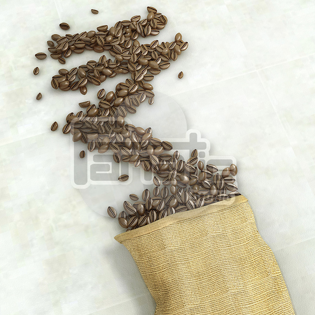 Roasted coffee beans forming Rupee sign