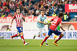 Atletico de Madrid's Saul and Savic and Celta de Vigo's Orellana during La Liga Match at Vicente Calderon Stadium in Madrid. May 14, 2016. (ALTERPHOTOS/BorjaB.Hojas)