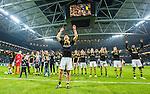 Solna 2015-10-04 Fotboll Allsvenskan AIK - Malm&ouml; FF :  <br /> AIK:s Stefan Ishizaki firar 2-1 segern och sjunger med AIK:s supportrar efter matchen mellan AIK och Malm&ouml; FF <br /> (Foto: Kenta J&ouml;nsson) Nyckelord:  AIK Gnaget Friends Arena Allsvenskan Malm&ouml; MFF jubel gl&auml;dje lycka glad happy