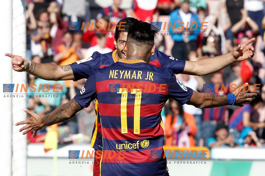 FC Barcelona's Luis Suarez (l) and Neymar Santos Jr celebrate goal during La Liga match. May 14,2016. (ALTERPHOTOS/Acero) <br /> Foto Insidefoto <br /> Granada - Barcellona