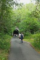 Tout d&eacute;bute par une randonn&eacute;e sur le parcours de l'ancienne voie ferr&eacute;e<br /> On s'approche du tunnel de Muratel, intrigant ou inqui&eacute;tant ?