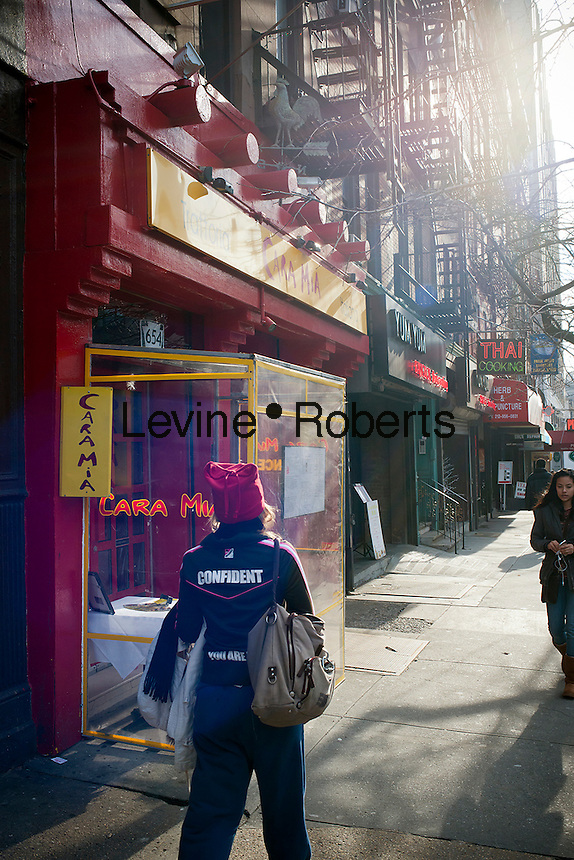 A collection of local establishments on Ninth Avenue in the Hell's Kitchen neighborhood of New York on Tuesday, January 24, 2012.   (© Richard B. Levine)