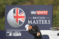 Joakim Lagergren (SWE) on the 2nd tee during Round 2 of the Sky Sports British Masters at Walton Heath Golf Club in Tadworth, Surrey, England on Friday 12th Oct 2018.<br /> Picture:  Thos Caffrey | Golffile<br /> <br /> All photo usage must carry mandatory copyright credit (&copy; Golffile | Thos Caffrey)