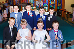 Coolick NS  pupils at their First Holy Communion in Our Lady of Lourdes church on Saturday front row l-r: Aidan Huggard, Vida Broderick, Faye griffin, Dylan Dyas. Back row: Jack O'Leary, Kieran Fleming, Derry O'Gorman and Alex Kelly
