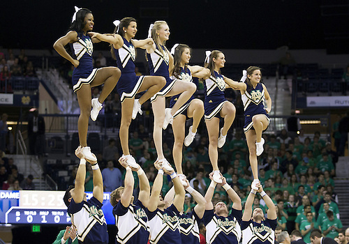 February 24, 2013:  Notre Dame cheerleaders perform during NCAA Basketball game action between the Notre Dame Fighting Irish and the Cincinnati Bearcats at Purcell Pavilion at the Joyce Center in South Bend, Indiana.  Notre Dame defeated Cincinnati 62-41.