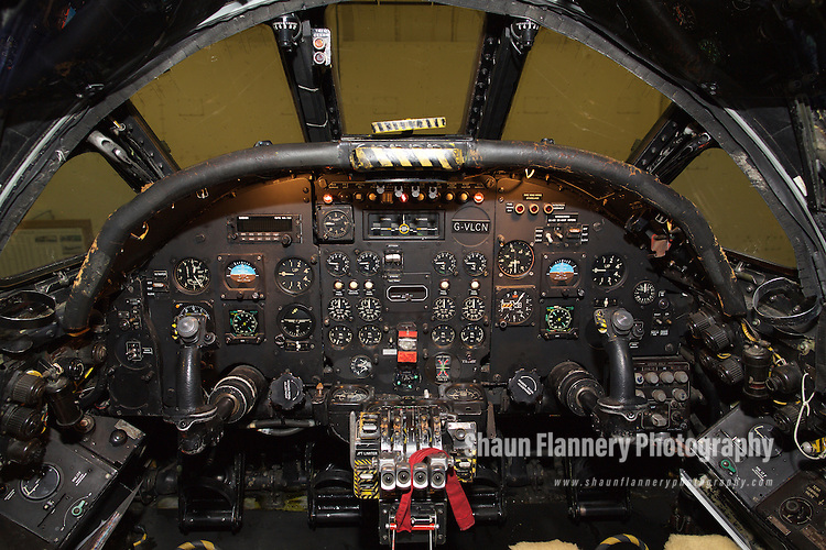 Pix: Shaun Flannery/shaunflanneryphotography.com<br /> <br /> COPYRIGHT PICTURE&gt;&gt;SHAUN FLANNERY&gt;01302-570814&gt;&gt;07778315553&gt;&gt;<br /> <br /> 18th December 2014<br /> Vulcan xh558 cockpit.<br /> Robin Hood Airport Doncaster Sheffield