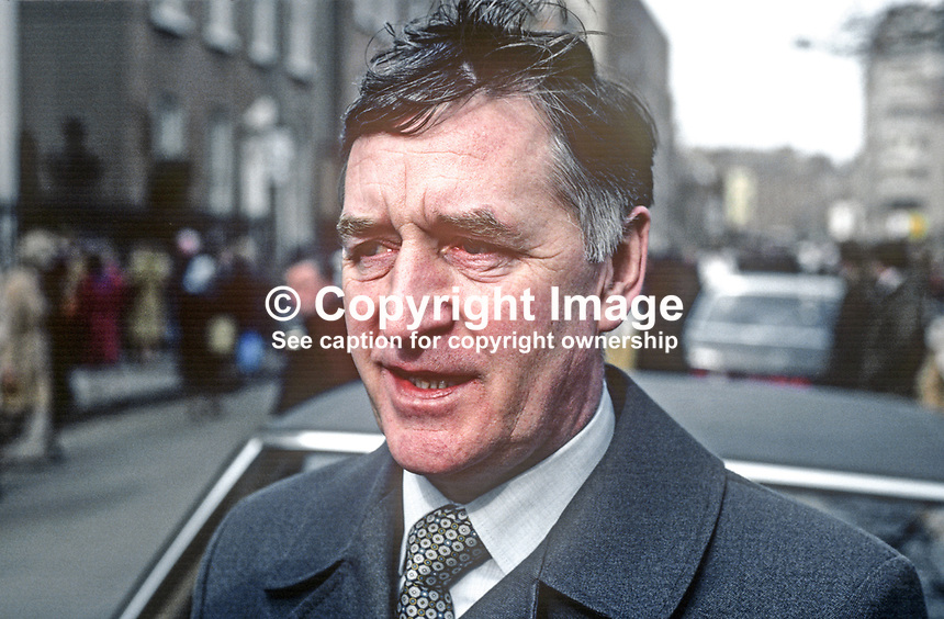 Patrick McLaughlin, commissioner, An Garda S&iacute;och&aacute;na, Irish police service, March 1982, 19820300021PML.<br /> <br /> Copyright Image from Victor Patterson, 54 Dorchester Park, Belfast, UK, BT9 6RJ<br /> <br /> t1: +44 28 9066 1296 (from Rep of Ireland 048 9066 1296)<br /> t2: +44 28 9002 2446 (from Rep of Ireland 048 9002 2446)<br /> m: +44 7802 353836<br /> <br /> victorpatterson@me.com<br /> www.victorpatterson.com<br /> <br /> Please see my Terms and Conditions of Use at victorpatterson.com . It is IMPORTANT that you familiarise yourself with them.<br /> <br /> Images used on the Internet incur an additional cost and must be visibly watermarked i.e. &copy;Victor Patterson within the body of the image and copyright metadata must not be deleted. Images used on the Internet have a size restriction of 4kbs and are chargeable at rates available at victorpatterson.com.<br /> <br /> This image is only available for the use of the download recipient i.e. television station, newspaper, magazine, book publisher, etc, and must not be passed on to any third party. It is also downloaded on condition that each and every usage is notified within 7 days to victorpatterson@me.com<br /> <br /> The right of Victor Patterson to be identified as the author is asserted in accordance with The Copyright Designs And Patents Act (1988). All moral rights are asserted.<br /> <br /> Download Link narrative<br /> <br /> This image is supplied subject to my Terms and Conditions at victorpatterson.com  The right of Victor Patterson to be identified as the author is asserted in accordance with The Copyright Designs And Patents Act (1988). All moral rights are asserted.
