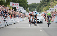 Oliver Naesen (BEL/AG2R-LaMondiale) wins the finish sprint (lifting his front wheel off the ground) against Sep Vanmarcke (BEL/Cannondale-Drapac) &amp; Jasper Stuyven (BEL/Trek-Segafredo)<br /> <br /> 2017 National Championships Belgium - Elite Men - Road Race (NC)<br /> 1 Day Race: Antwerpen &gt; Antwerpen (233km)