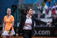Bratislava, Slovenia, April 23, 2017,  FedCup: Slovakia-Netherlands,seccond rubber sunday,  Dicission made by chairumpire Anja Vreg (SLO)<br /> Photo: Tennisimages/Henk Koster