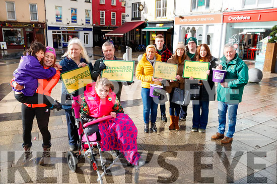 CAMPAIGN: Charlotte Caldwell, who's son Billy made history when prescribed oil containing CBD was in Tralee on Friday to campaign for the legalisation of the oil in Ireland. Pictured were: Charlotte Caldwell, pictured holding her son Billy, Maisie, Michael and Zoe Langford, with Deirdre Power, Adam Langford, Chris Collins, Jordan Havern, Fiona Foley and Seamus Kelly.