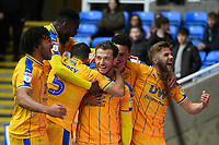 Joe Garner of Wigan Athletic middle is mobbed after scoring the  second goal and celebrates  during Reading vs Wigan Athletic, Sky Bet EFL Championship Football at the Madejski Stadium on 9th March 2019