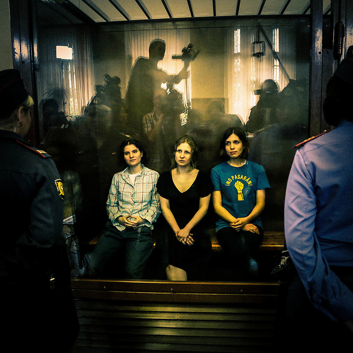 Three members of Russian punk band Pussy Riot are sentenced to two years in jail for hooliganism motivated by religious hatred, following a protest against President Putin in a Moscow cathedral. August 17, 2012