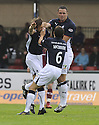 13/09/2008  Copyright Pic: James Stewart.File Name : sct_jspa03_falkirk_v_hearts.NEIL MCCANN GETS THUMPED BY KEVIN MCBRIDE AS HE CELEBRATES WITH MICHAEL HIGDON AFTER SCORING FALKIRK'S FIRST.James Stewart Photo Agency 19 Carronlea Drive, Falkirk. FK2 8DN      Vat Reg No. 607 6932 25.James Stewart Photo Agency 19 Carronlea Drive, Falkirk. FK2 8DN      Vat Reg No. 607 6932 25.Studio      : +44 (0)1324 611191 .Mobile      : +44 (0)7721 416997.E-mail  :  jim@jspa.co.uk.If you require further information then contact Jim Stewart on any of the numbers above........