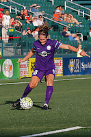 Rochester, NY - Saturday June 11, 2016: Orlando Pride midfielder Maddy Evans (18) during a regular season National Women's Soccer League (NWSL) match between the Western New York Flash and the Orlando Pride at Rochester Rhinos Stadium.
