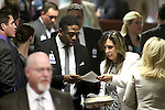 Lobbyist Tyre Gray talks with Nevada Assemblywoman Victoria Seaman, R-Las Vegas, at the Legislative Building in Carson City, Nev., on Thursday, May 21, 2015. <br /> Photo by Cathleen Allison