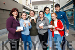 Delighted Ed Sheeran fans with their tickets on Saturday morning. <br /> Left to right Karen and Chloe Dillon (Tralee), Orla McSweeney (Foynes), Clara Hanrahan (Ballylongford), Rachel Griffin (Athea), Maura O'Neill (Ballylongford) and Colm McSweeney (Foynes).