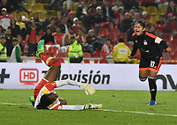 BOGOTA - COLOMBIA - 07 - 05 - 2017: Catalina Usme (Der.) jugador de America de Cali, celebra el gol anotado a Independiente Santa Fe, durante partido de vuelta entre Independiente Santa Fe y America de Cali, por la Liga Femenina , en el estadio Nemesio Camacho El Campin de la ciudad de Bogota. / Catalina Usme (R) player of America de Cali, celebrates a goal scoring to Independiente Santa Fe during a match of the second round for the Liga Femenina Aguila 2017, between Independiente Santa Fe and America de Cali,  at the Nemesio Camacho El Campin Stadium in Bogota city, Photo: VizzorImage / Luis Ramirez / Staff.