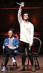 Sasha Hollinger and Jordan Fisher during the Q & A for The Rockefeller Foundation and The Gilder Lehrman Institute of American History sponsored High School student #EduHam matinee performance of 'Hamilton' at the Richard Rodgers Theatre on 2/15/2017 in New York City.
