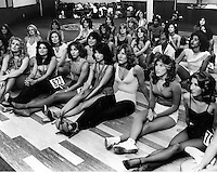 Oakland Raiders...Raiderette tryouts 1980 at the Hyatt Hotel in Oakland. (1980 photo by Ron Riesterer)