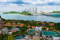 Singapore Downtown From Sentosa Island