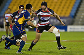 DJ Forbes moves in to tackle Steven Setephano. Air New Zealand Cup rugby game played at Mt Smart Stadium, Auckland, between Counties Manukau Steelers & Otago on Thursday August 21st 2008..Otago won 22 - 8 after leading 12 - 8 at halftime.