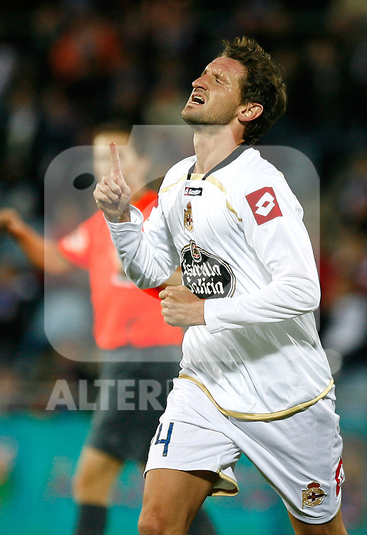 Deportivo de la Coruna's Mista celebrates during La Liga match. November 07, 2009. (ALTERPHOTOS/Alvaro Hernandez).