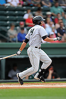 Second baseman Hunter Cole (19) of the Augusta GreenJackets bats in a game against the Greenville Drive on Sunday, April 12, 2015, at Fluor Field at the West End in Greenville, South Carolina. Augusta won, 2-1. (Tom Priddy/Four Seam Images)