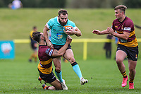 Sean Scanlon of Nottingham Rugby (2nd left) during the Greene King IPA Championship match between Ampthill RUFC and Nottingham Rugby on Ampthill Rugby's Championship Debut at Dillingham Park, Woburn St, Ampthill, Bedford MK45 2HX, United Kingdom on 12 October 2019. Photo by David Horn.