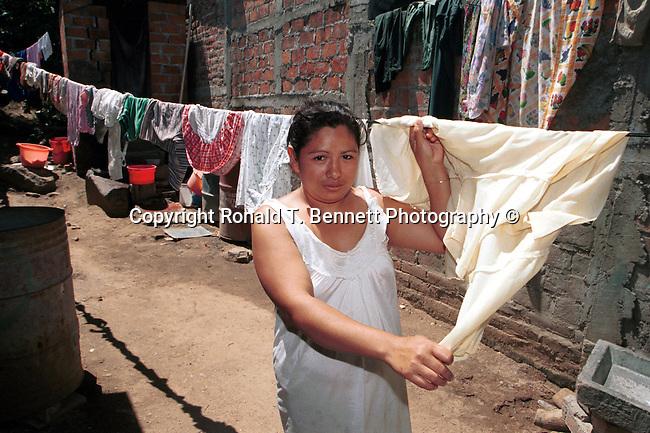 Woman with her wash on clothes line San Salvador El Salvador Central America, Fine Art Photography by Ron Bennett, Fine Art, Fine Art photography, Art Photography, Copyright RonBennettPhotography.com ©
