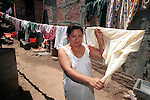 Woman with her wash on clothes line San Salvador El Salvador Central America, Fine Art Photography by Ron Bennett, Fine Art, Fine Art photography, Art Photography, Copyright RonBennettPhotography.com ©