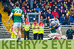Paul Murphy  Kerry in action against Colin Walshe Monaghan during the Allianz Football League Division 1 Round 5 match between Kerry and Monaghan at Fitzgerald Stadium in Killarney, on Sunday.