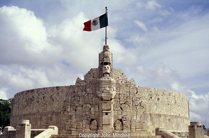 The Monumento a la Patria monument created by Romulo Rozo, Paseo de Montejo, Merida, Yucatan, Mexico