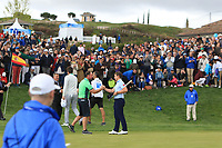 Paul Dunne (IRL) and caddy Darren on the 18th green during Round 4 of the Open de Espana 2018 at Centro Nacional de Golf on Sunday 15th April 2018.<br /> Picture:  Thos Caffrey / www.golffile.ie<br /> <br /> All photo usage must carry mandatory copyright credit (&copy; Golffile | Thos Caffrey)