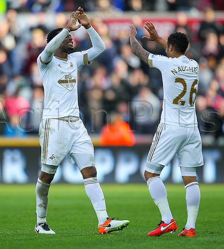 09.04.2016. Liberty Stadium, Swansea, Wales. Barclays Premier League. Swansea versus Chelsea. Swansea City's Leroy Fer and Swansea City's Kyle Naughton celebrate after winning the match 1-0
