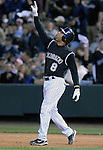 06 October  2007:  Colorado catcher, Yorvit Torrealba reaches first base during the Rockies 2-1 victory over the Philadelphia Phillies to win their National League Division Series at Coors Field, Denver, Colorado.