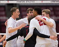 STANFORD, CA - January 5, 2019: Kyler Presho, Jaylen Jasper, Eric Beatty, Kyle Dagostino at Maples Pavilion. The Stanford Cardinal defeated UC Santa Cruz 25-11, 25-17, 25-15.
