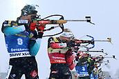 17th March 2019, Ostersund, Sweden; IBU World Championships Biathlon, day 9, mass start men; Simon Desthieux (FRA), Johannes Thingens Boe (NOR) at the shooting range