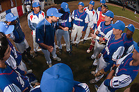 17 August 2010: Hitting coach Jamel Boutagra talks to Team France during the Czech Republic 4-3 win over France, at the 2010 European Championship, under 21, in Brno, Czech Republic.