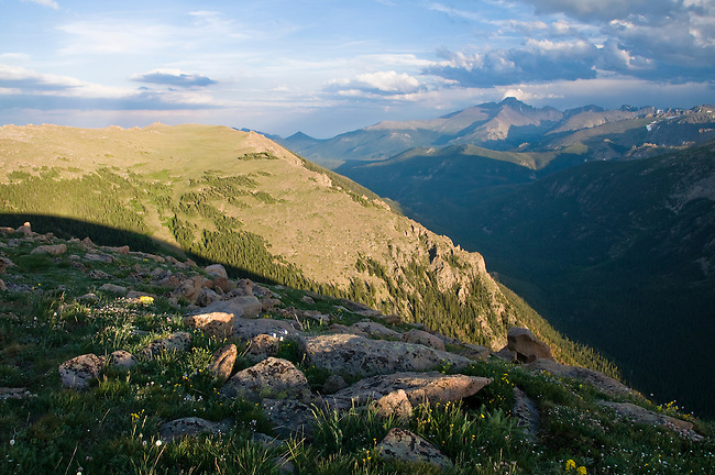 alpine, landscape, tundra, Forest Canyon, summer, evening, clouds, Trail Ridge, Rocky Mountain National Park, Colorado, USA