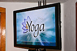 """TV monitor reads """"Yoga"""". Photographed during Yoga for Wii video game launch, 463 West Street, Ramscale Loft, November 9 2009."""