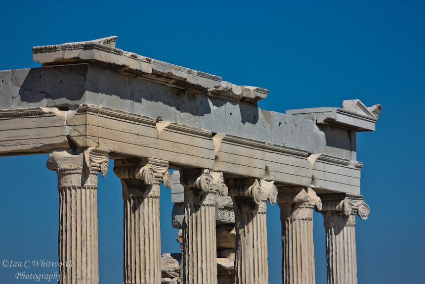 A view of the columns in Athens at the Acropolis