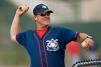 Lakewood BlueClaws coach Greg Legg #25 throws batting practice at Fieldcrest Cannon Stadium July 10, 2009 in Kannapolis, North Carolina. (Photo by Brian Westerholt / Four Seam Images)
