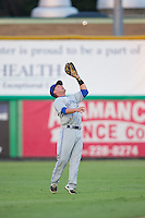 Bluefield Blue Jays shortstop Aaron Attaway (5) catches a pop fly in shallow center field during the game against the Burlington Royals at Burlington Athletic Park on June 29, 2015 in Burlington, North Carolina.  The Royals defeated the Blue Jays 4-1. (Brian Westerholt/Four Seam Images)