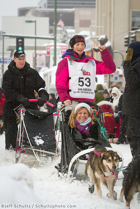 Zoya DeNure leaves the 2011 Iditarod ceremonial start line in downtown Anchorage, during the 2012 Iditarod..Jim R. Kohl/Iditarodphotos.com