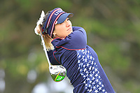 Annie Park (USA) on the 2nd tee during Day 3 Singles at the Solheim Cup 2019, Gleneagles Golf CLub, Auchterarder, Perthshire, Scotland. 15/09/2019.<br /> Picture Thos Caffrey / Golffile.ie<br /> <br /> All photo usage must carry mandatory copyright credit (© Golffile | Thos Caffrey)
