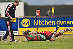 Kelepi Aholelei crashes over in the tackle of Augustine Pulu near the corner flag to score Waiukus second try. Counties Manukau Premier Club Rugby game between Waiuku & Karaka played at Waiuku on Saturday July 4th 2009. Waiuku won the game 22 - 7.
