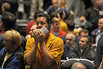 Traders in the S&P 500 pit at the CME Group in the last moments of trading before closing bell in Chicago, Illinois on October 10, 2008.  The S&P was down 1.18% Friday.