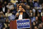 Oprah Winfrey takes the stage during a rally for Democratic presidential candidate US Senator Barack  Obama at UCLA's Pauley Pavilion in Los Angeles, California, February 3, 2008. Fitzroy Barrett