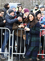 Ms. Meghan Markle arrive at the Esplanade in front of the Edinburgh Castle in Edinburgh, on February 13, 2018, on their first official joint visit to Scotland Photo: Albert Nieboer / Netherlands OUT / Point De Vue Out Photo: Albert Nieboer/Royal Press Europe/RPE /MediaPunch ***FOR USA ONLY***