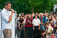 Moscow, Russia, 13/08/2013.<br /> Russian opposition blogger and political activist Alexei Navalny speaking to voters in a central Moscow park as he campaigns as a candidate for Moscow Mayor in elections scheduled for September 8th.